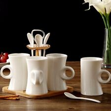 9PC COFFEE MUG SET WITH SPOON AND BAMBOO STAND KITCHEN TEA DRINKING CUP GIFT NEW