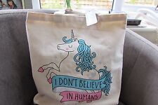 Unicorn I Don't believe in Humans Canvas Tote Bag new with tags