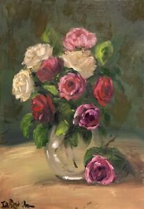 A4 Print of Original oil painting art floral rose impressionism shabby chic