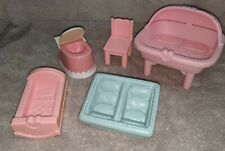 lot  of 1993 playskool double baby bassinet & other dollhouse furniture mattel