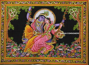 Indian Beautiful Ethnic Radha Krishna Desgin Picture Small Art Tapestry Poster