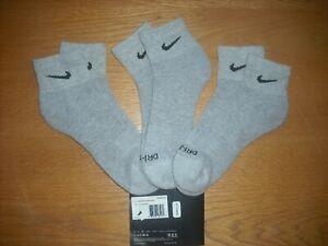 Mens Nike Quarter Ankle Socks NWT LOW PRICE 3prs Gray DRI-FIT Authentic L(8-12)