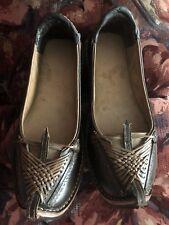 Brown Leather Handmade Traditional Gujrati Maher Indian Mojari Jutti Shoe Size 8