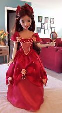 Disney Princess Belle Porcelain Doll Red Dress w/ Hand Mirror and Key/ Stand