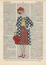 Stylish Lady Hen Dictionary Wall Picture Art Print Vintage Animal In Clothes