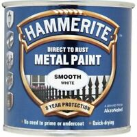 NEW HAMMERITE DIRECT TO RUST METAL PAINT - SMOOTH WHITE - 250ML - 5084857