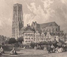 1840 Fine gravure sur acier cathédrale Malines Mechelen Flandres Belgique