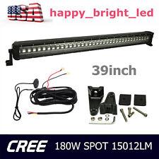 39inch 180W CREE Strobe Flash Single Row LED Light Bar Spot Off-Road W/ Wiring
