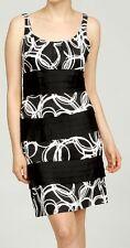 NEW S.L. Fashions Women's Sleeveless Scoopneck Dress Black/White Size 6