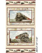 Locomotion Trains Sand Panel Cotton Quilting Fabric - 60cm x 110cm - Benartex