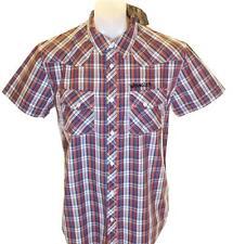 Nuovo con Etichetta da Uomo Wrangler Maniche Corte Camicia a Quadri Grande