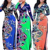 Plus Size Womens V-Neck Maxi Dress Boho Floral Long Sleeve Waist Dresses New