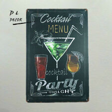 DL-Cocktail Menu Retro metal Aluminium Sign Cocktail Man Cave pub clubs Bar
