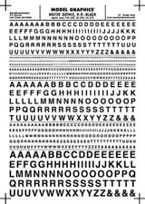 Woodland Scenics Dry Transfer Decals Gothic Letters Black