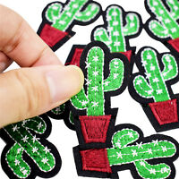 3pcs Cactus Embroidery Fabric Applique Iron/Sew on Patches For Clothing  Z FT