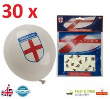 "30 x ENGLAND BALLOONS 12"" White Balloon Party Decoration Football World Cup UK"