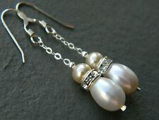 Pearl Silver Earring Vintage Costume Jewellery