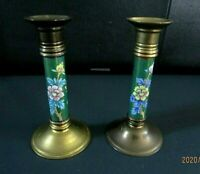 Vintage Pair Of Brass And Hand Painted Moriage Style Flowers/birds Candle Holder