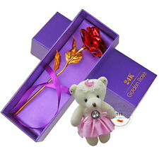 XO 24K Gold Plated Rose Flower Valentine's day Birthday Gifts + Cute Teddy Bear