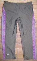 Under Armour UA HeatGear Sonic Varsity Capri Pants Womens SM Small Gray 1244720