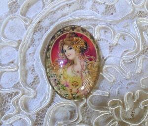 Nouveau Lady 30X40mm Glitter Unset Handmade Glass Art Bubble Cameo Cabochon