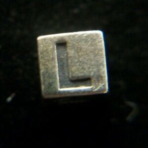 """2mm Sterling Silver Alphabet Cube Letter, """"L"""", Jewelry Making square bead block"""