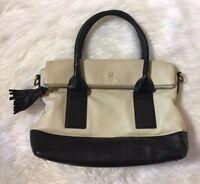 Kate Spade Beige Black Pebbled Leather Shoulder Bag