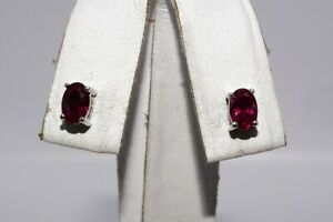 1.00CT OVAL CUT PINKISH RED RUBY STUD EARRINGS 14K WHITE GOLD