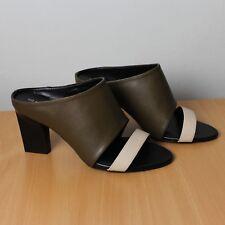 Next Leather Khaki Cream Pep Toe Shoes Sandals Mules Heels Party Evening 6 UK