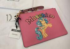 $295 SS18 Moschino Couture Jeremy Scott My Little Pony Pink Clutch Rainbow Logo
