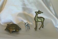 Lot Vintage Brass Turtle w/ Lid Italy Trinket Dish Brass Deer & Pewter Deer Elk