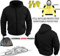 MENS BLACK FLEECE HOODIE WITH KEVLAR REMOVABLE ARMOR MOTORBIKE MOTORCYCLE JACKET
