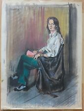 1971 handsome male figure portrait pastel drawing Vito Tomasello NYC gay artist