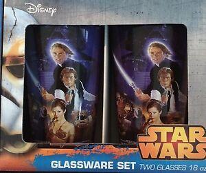 Star Wars Return Of The Jedi Pint Glass Set NEW Luke Skywalker Han Solo Leia