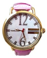 Womens Casual Watch Montres Carlo MC40143 Pink F Leather Gold Case