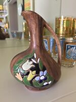 "Vintage Hand Made & Painted Israel Ceramic Pottery ""KERAMOS"" Vase 4.75"" Signed"
