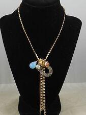 Betsey Johnson Goldtone THROWBACK TO VINTAGE Tassel Horseshoe Heart Necklace $48