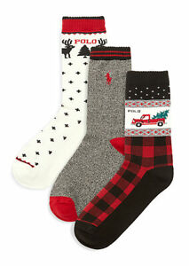 Polo Ralph Lauren Boys Crew Socks 3 Pack Multi Sz 8-9.5 - NWT