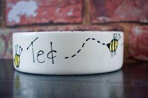 Dog bowl medium 20cm personalised ceramic pet bowl hand Painted bee design bowl
