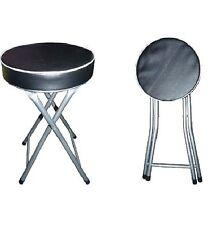 Round Folding Stool Black Soft Padded Seat Foldable Chair Stool Kitchen 51x31cm