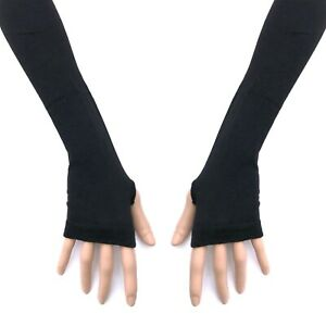 80s 90s 2000s Gothic Horror Punk Glam Rock Emo Black Knit Arm Warmer Armwarmers