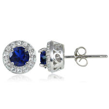 Sterling Silver .75ct Created Blue Sapphire & White Topaz 4mm Halo Stud Earrings