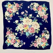 "Vintage Echo Club 7 Scarf 1980s Floral Cabbage Roses Blue and Pink 30"" Square"