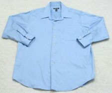 Blue Dress Shirt George Cotton Poly Top XL 17-17.5 32-33 Solid Long Sleeve 1-67