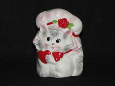 Vintage Lefton Valentines Day Planter Cat Kitten with Heart and Mop Hat Japan