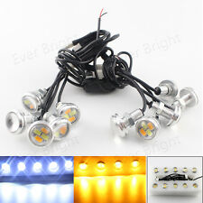 10 In 1 5730 4SMD White Amber Dual Color Eagle Eye LED Daytime Running Light