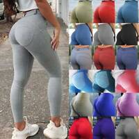Women's Push Up Yoga Leggings Sports Pants High Waist Ruched Workout Fitness AM
