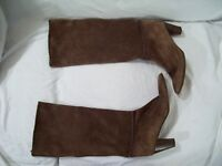 Unknown Brand Women's Brown Suede Leather Mid-Calf Boots Made in ITALY sz 8.5B