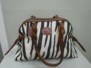 DOONEY & BOURKE Large Zebra Striped Leather Shoulder Handbag Satchel Purse Bag