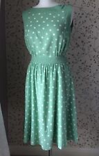 Laura Ashley dress mint green size 10 retro 50's style polka dot lined